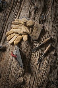 A pair of leather working gloves, and traditional tools.の写真素材 [FYI02244010]