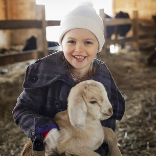 A child in the animal shed holding stroking a baby goat.の写真素材 [FYI02244268]
