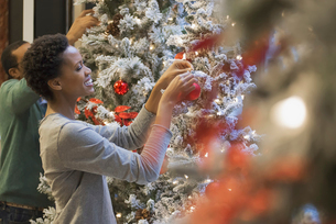 Couple at home decorating for Holidaysの写真素材 [FYI02244491]
