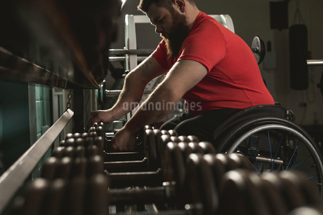 Handicapped man on wheelchair lifting dumbbell from rackの写真素材 [FYI02244794]