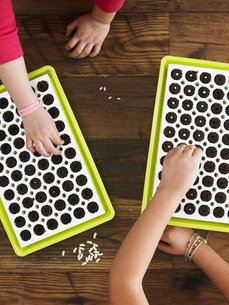 Two children planting seeds into a seed growing tray.の写真素材 [FYI02244870]