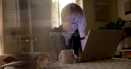 Worried mature woman using laptop in living roomの写真素材 [FYI02245037]