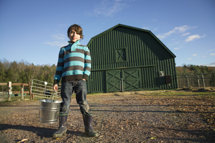 A young boy in an animal paddock with a bucket of feedの写真素材 [FYI02246042]