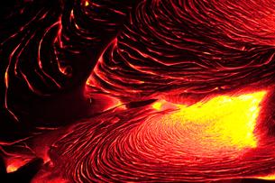 Detail of flowing lava, Hawaii Volcanoes National Parkの写真素材 [FYI02246499]