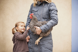 A woman in a grey coat holding a black and white chickenの写真素材 [FYI02246535]