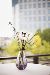 A table on a terrace in the city. A vase of flowers.の写真素材 [FYI02246576]