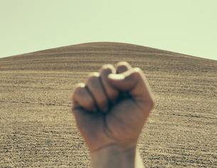 A hand bunched up background ploughed field and farmland.の写真素材 [FYI02246661]