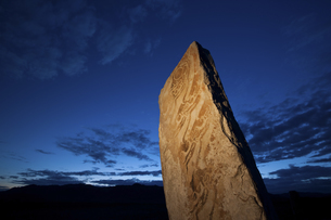 Deer stone marker, a standing stone with inscriptionsの写真素材 [FYI02246828]