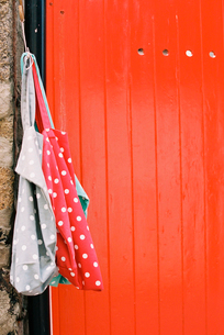 A vividly painted orange door, and two spotted cloth bags hanging from a nail.の写真素材 [FYI02247446]