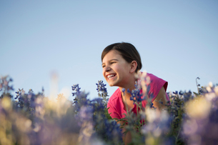 A girl sitting in a field of tall grass and blue wild flowers.の写真素材 [FYI02247575]