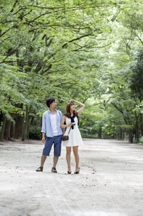 A couple, a man and woman in a Kyoto park in an avenue of mature trees.の写真素材 [FYI02248122]