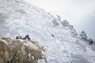 A man, a hiker in the mountains, taking a rest lying on a rock outcrop above a valley.の写真素材 [FYI02248465]