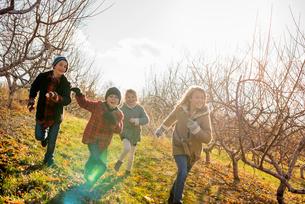 Four children running outdoors in winterの写真素材 [FYI02248533]