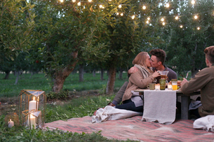 An apple orchard in Utah. Couple sitting on the ground, kissing, food and drink on a table.の写真素材 [FYI02248718]