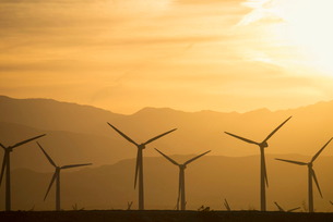 A group of wind power turbines in the sunset.の写真素材 [FYI02248723]