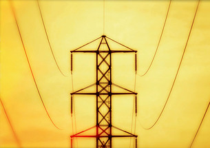 A hydro tower, an electricity pylon, metal structure with arms carrying power lines, against a vividの写真素材 [FYI02248918]