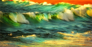 Waves and surf breaking on the shore at sunset.の写真素材 [FYI02249030]