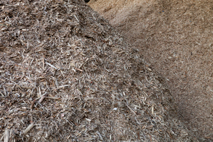 Stored organic waste heaped up in a large warehouse for biomass fuel 有oduction.の写真素材 [FYI02249079]