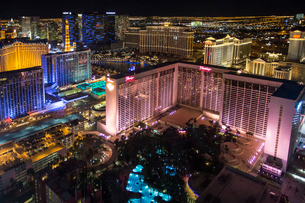 High angle view of Las Vegas at night, with the illuminated Flamingo hotel and casino in the foregroの写真素材 [FYI02249348]