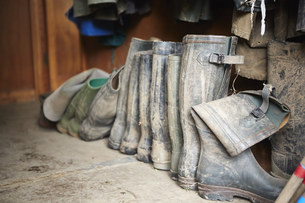 Several pairs of muddy wellington boots on a stone floor.の写真素材 [FYI02249503]