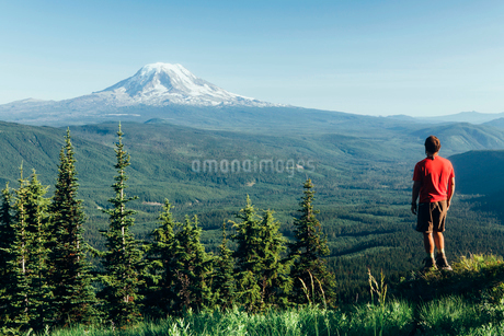 Male hiker on a mountain summit, looking at the landscape towards Mount Hoodの写真素材 [FYI02249701]