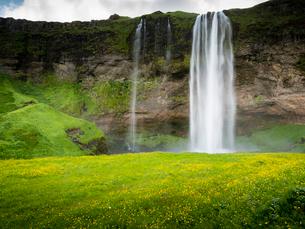 A waterfall cascade over a sheer cliff.の写真素材 [FYI02249892]