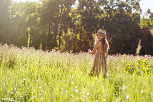 A young girl walking in a field in the sunshineの写真素材 [FYI02249944]