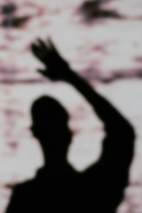 Shadow on wall of a man's head and shoulders, with an arm raised.の写真素材 [FYI02251245]