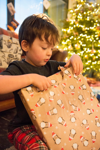 A family at home on Christmas Day. A boy unwrapping a large present.の写真素材 [FYI02251484]