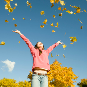 A girl throwing dried fallen autumn leaves high into the air.の写真素材 [FYI02251818]