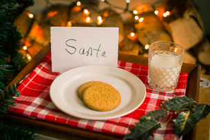 Christmas preparations. A plate with biscuits and a glass of milk on a tray for Santa.の写真素材 [FYI02251883]
