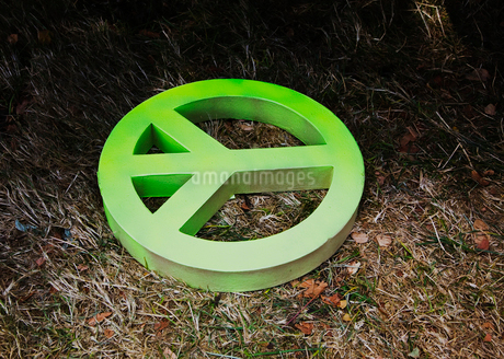 Cardboard peace sign on the ground, coloured green.の写真素材 [FYI02252324]