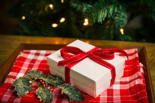 Christmas decorations. Gift box tied with a ribbon and holly leaves.の写真素材 [FYI02252417]