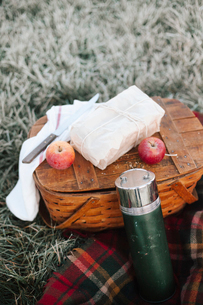 A winter picnic, apples and a wrapped cake by a fishing basket on a rug.の写真素材 [FYI02252499]