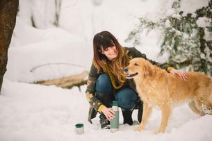 A woman stroking a golden retriever in woodlands in winter.の写真素材 [FYI02252718]