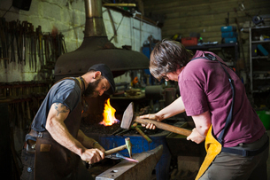 Two blacksmiths hammer a piece of metal on an anvil in a workshopの写真素材 [FYI02253048]