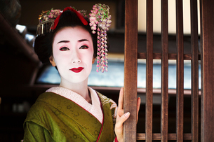A woman dressed in the traditional geisha style, wearing a kimono and obi, with an elaborate hairstyの写真素材 [FYI02253075]