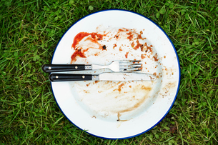 High angle view of dirty plate with knife and fork on a lawn.の写真素材 [FYI02253422]