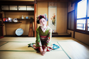 A woman dressed in the traditional geisha style, wearing a kimono and obi, with an elaborate hairstyの写真素材 [FYI02253430]