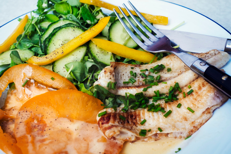 High angle view of a plate with grilled fish and a salad.の写真素材 [FYI02253515]