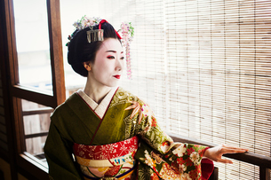 A woman dressed in the traditional geisha style, wearing a kimono and obi, with an elaborate hairstyの写真素材 [FYI02253774]