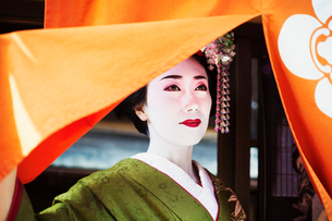 A woman dressed in the traditional geisha style, wearing a kimono with an elaborate hairstyle and flの写真素材 [FYI02253797]