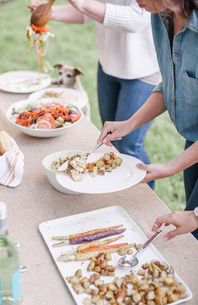 Women with flower wreath in their hair at a garden party, choosing food from a buffet.の写真素材 [FYI02253800]