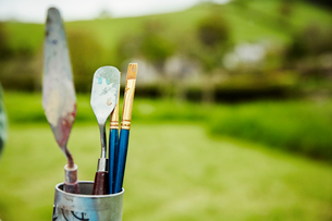 A tin with a selection of artist's tools, paintbrush and palette knives, outdoors.の写真素材 [FYI02253994]