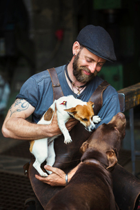A man in a leather apron playing with two dogs in a workshop.の写真素材 [FYI02254097]