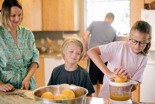 Family preparing breakfast in a kitchen, girl squeezing oranges.の写真素材 [FYI02254256]