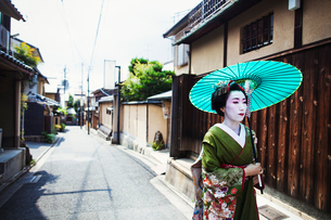 A woman dressed in the traditional geisha style, wearing a kimono and obi, with an elaborate hairstyの写真素材 [FYI02254276]
