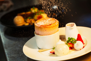 Close up of a souffle on a plate.の写真素材 [FYI02254291]