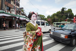 A woman dressed in the traditional geisha style, wearing a kimono and obi, with an elaborate hairstyの写真素材 [FYI02254299]