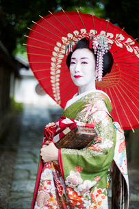 A woman dressed in the traditional geisha style, wearing a kimono and obi, with an elaborate hairstyの写真素材 [FYI02254338]